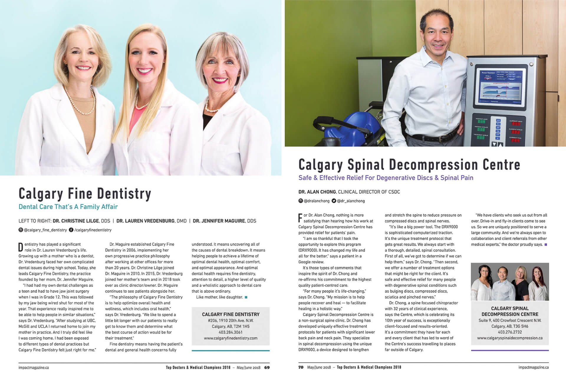 Headshots of three dentists and a chiropractor