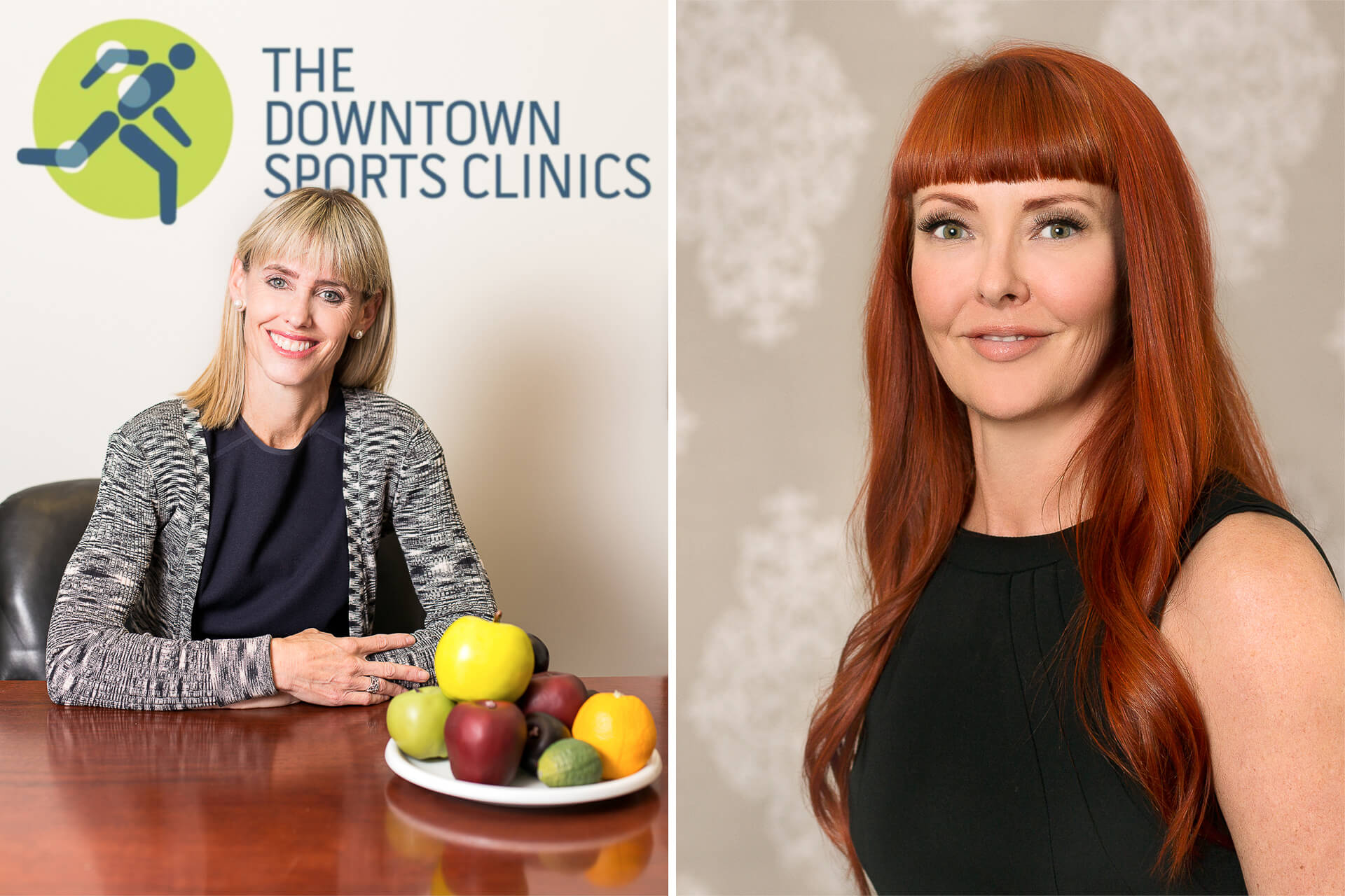 Two business portraits of a nutritionist and a beauty expert
